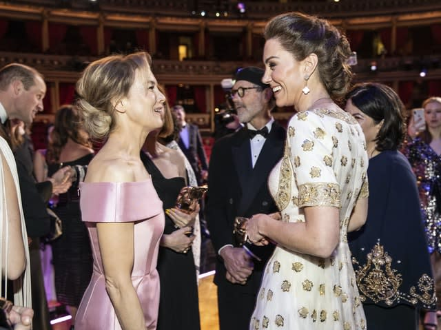 The Duchess of Cambridge talks to Renee Zellweger during the EE British Academy Film Awards at the Royal Albert Hall in London