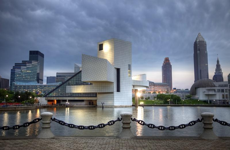 Cleveland's Rock & Roll Hall of Fame, completed by I.M. Pei in 1995.