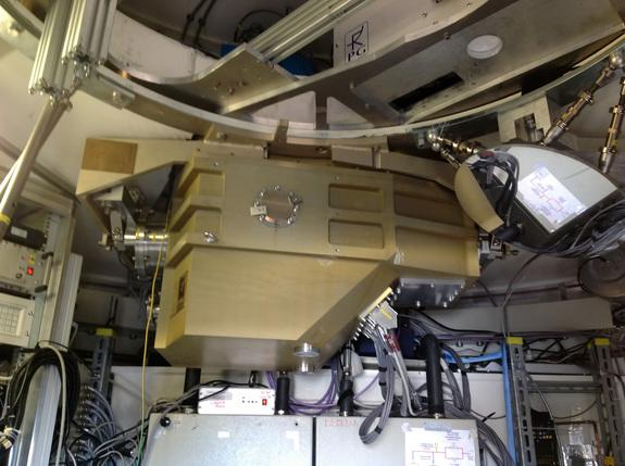 The ArTeMiS cryostat installed in the APEX telescope on the Chajnantor Plateau in northern Chile. ArTeMiS is a new wide-field submillimetre-wavelength camera that will be a major addition to APEX's suite of instruments and further increase the