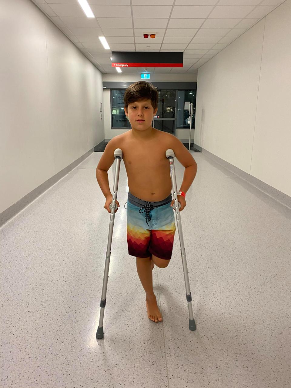 The nine-year-old thought he was going to die after being bitten by a stonefish. Source: Supplied