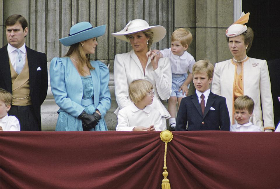 LONDON, UNITED KINGDOM - JUNE 13:  Members Of The Royal Family On The Balcony Of Buckingham Palace For Trooping The Colour. In The Back Row From Left To Right: Prince Andrew, Duchess Of York (sarah Ferguson), Princess Diana, Prince Harry And Princess Anne. In The Front Row From Left To Right: Lady Gabriella Windsor, Peter Phillips And Prince William. She is wearing a hat by Philip Somerville.  (Photo by Tim Graham/Getty Images)