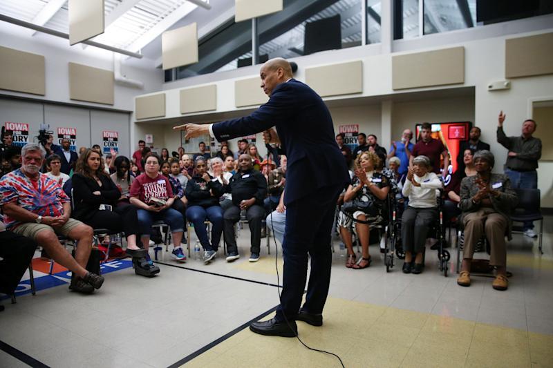 2020 Democratic presidential candidate Cory Booker speaks during an Iowa Democrats Black Caucus town hall in Des Moines, Iowa, U.S., April 16, 2019. REUTERS/Elijah Nouvelage
