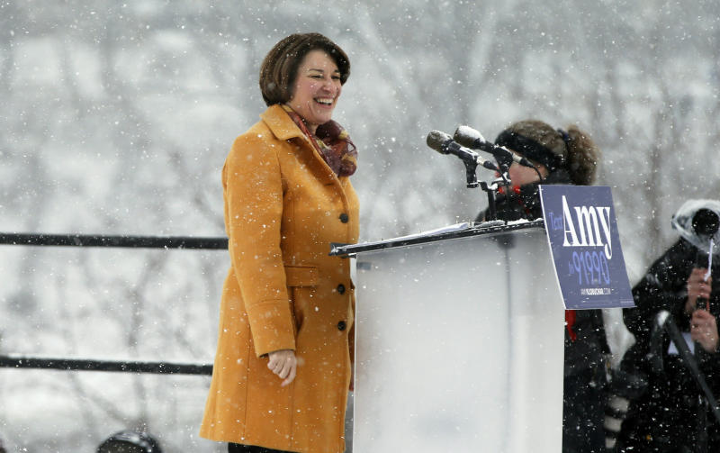 Democratic Sen. Amy Klobuchar announced her presidential candidacy on Sunday at a snowy rally in Minneapolis. Afterward, she spoke to reporters about reports that she routinely disparages many of the people who work for her. (ASSOCIATED PRESS)