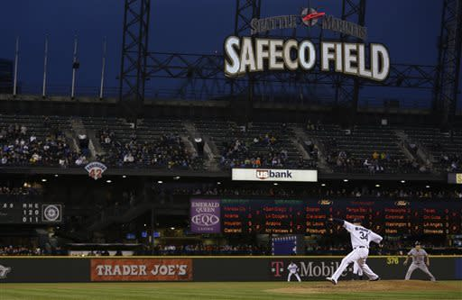 Seattle Mariners starting pitcher Felix Hernandez throws in the fourth inning against the Detroit Tigers during a baseball game at Safeco Field, Wednesday, April 17, 2013, in Seattle. Hernandez struck out 12 and gave up one run in eight innings pitched. (AP Photo/Ted S. Warren)