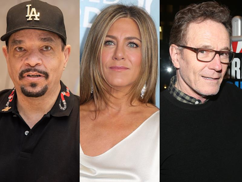 Ice-T, Jennifer Aniston and Bryan Cranston have been directly affected by COVID-19. (Photo: Getty Images)