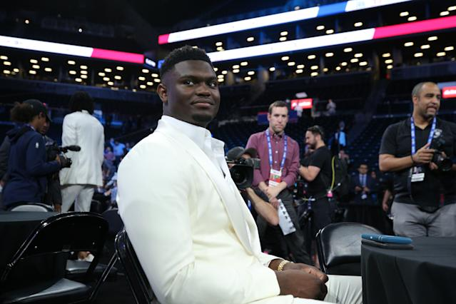 Like LeBron James, Zion Williamson rocked all white for his NBA draft night. (Reuters)