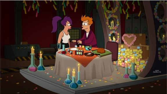 """Still from """"Fry & Leela's Big Fling,"""" one of the 13 episodes in season 7B of """"Futurama,"""" which will air from June 19-Sept. 4, 2013."""