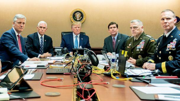PHOTO: President Donald Trump and government officials monitor developments as special operations forces close in on ISIS leader Abu Bakr al-Baghdadi's compound in Syria in the situation room at the White House, Oct. 26, 2019. (Shealah Craighead/The White House via Getty Images)