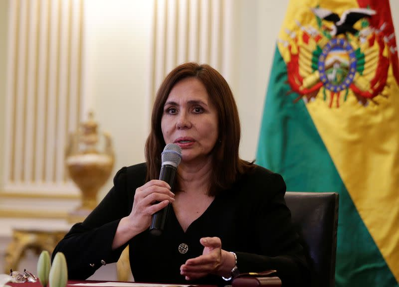Bolivia's Foreign Minister Karen Longaric speaks during a news conference in La Paz