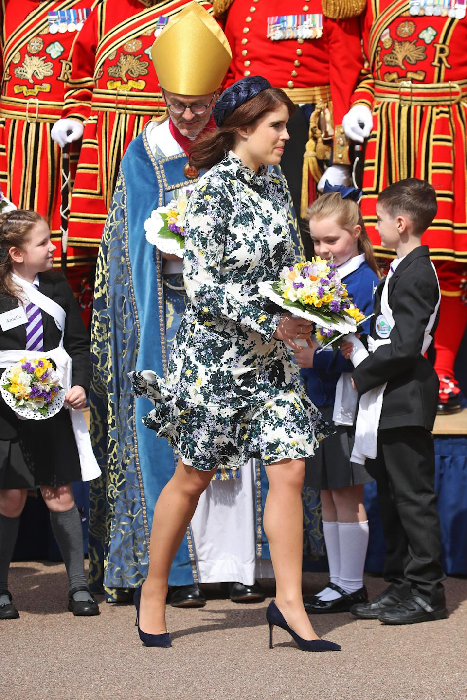 Princess Eugenie wore an Erdem dress, inspired by the Queen's 1950s style [Photo: Getty]