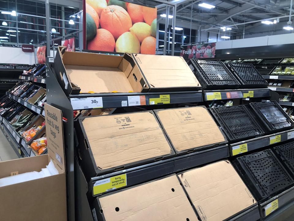 "Empty food shelves in Sainsbury's store in Bangor, Co Down. Boris Johnson has admitted there are ""teething problems"" in the post-Brexit trade relationship between Great Britain and Northern Ireland as industry experts warned there could be fresh shortages on supermarket shelves."