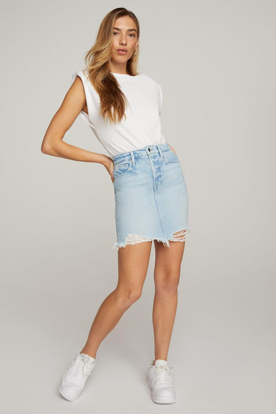<p>If you're looking for a skirt that isn't too short, get the <span>Good American Mini Skirt</span> ($99).</p>