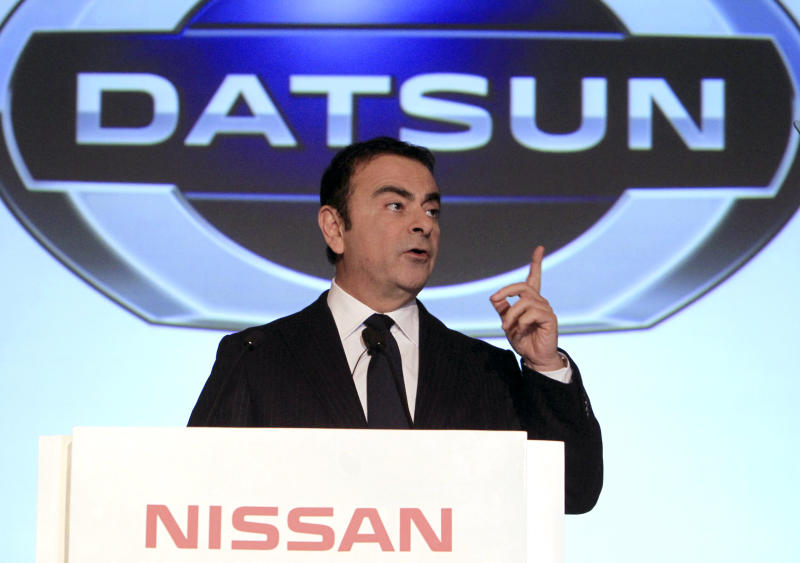 Nissan Motor Co. Chief Executive Carlos Ghosn gestures during a press conference in Jakarta, Indonesia, Tuesday, March 20, 2012. Ghosn announced Tuesday that Nissan is bringing back the Datsun three decades after shelving the brand that helped build its U.S. business. (AP Photo)