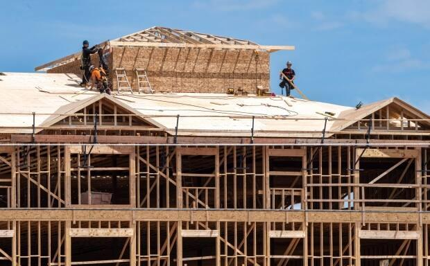 Housing complexes are constructed in Charlottetown last summer. City official Alex Forbes says 2020 was a record year for building permits in the city. (Brian McInnis/CBC - image credit)