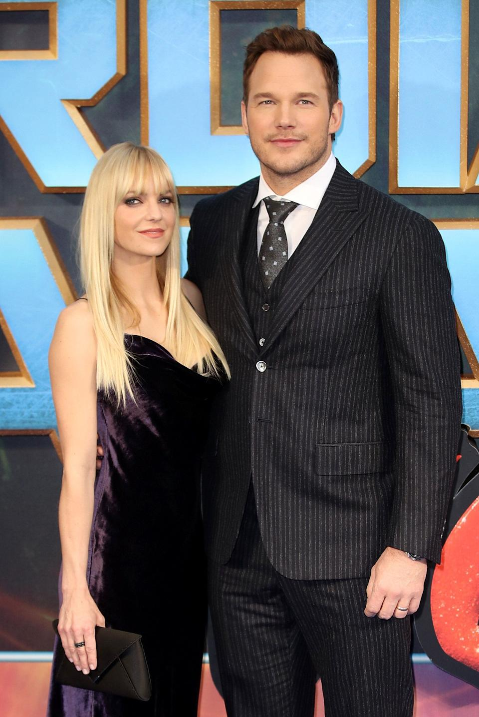"""Anna Faris with her ex-husband Chris Pratt at a screening of """"Guardians of the Galaxy Vol. 2"""" in 2017. (Photo: Mike Marsland via Getty Images)"""