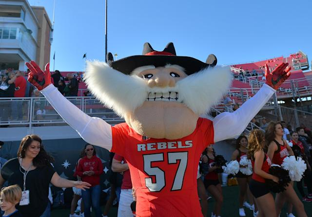 "UNLV introduced the ""Hey Reb!"" mascot in 1983 after previously using a wolf mascot that wore a Confederate uniform. (Photo by Sam Wasson/Getty Images)"