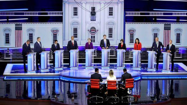 PHOTO: Democratic presidential candidates on night one, June 26, 2019, in Miami. (Joe Raedle/Getty Images)