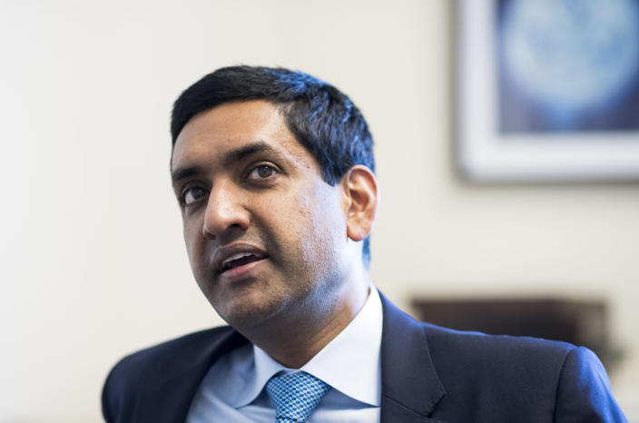 Rep. Ro Khanna in his office. (Photo: Bill Clark/CQ Roll Call/Getty Images)
