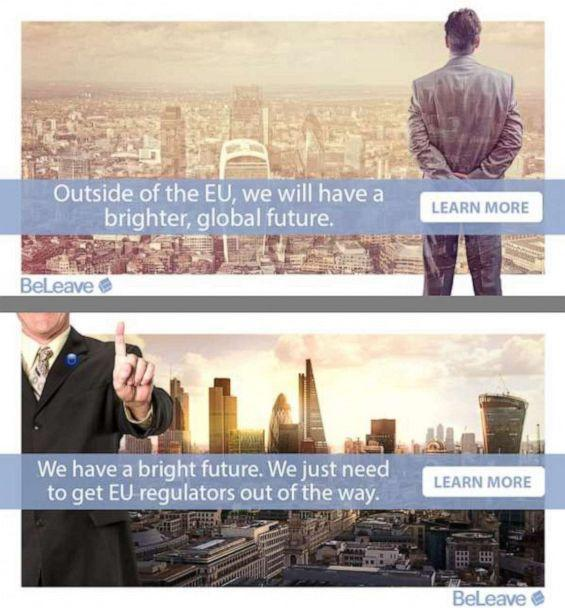PHOTO: Examples of targeted advertising used by Vote Leave, the official Brexit campaign on Facebook. (Facebook via UK Parliament)