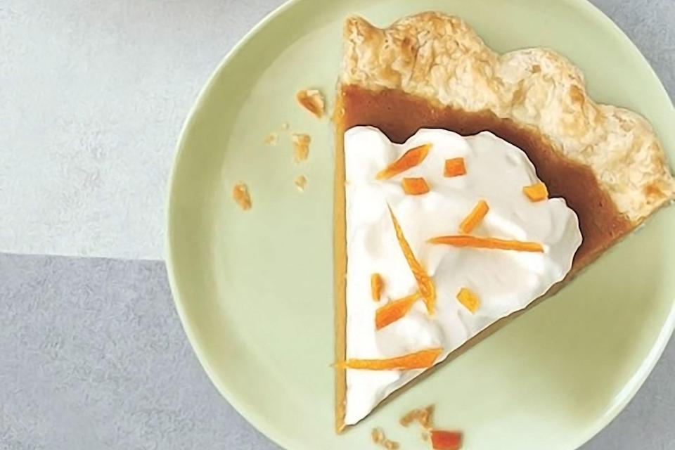 "Spiked with fragrant lemon and orange peels, and garnished with an orange liqueur–infused whipped cream and candied orange peels, this pumpkin pie is full of refreshingly bold flavor. <a href=""https://www.epicurious.com/recipes/food/views/citrus-pumpkin-pie-with-grand-marnier-cream-236479?mbid=synd_yahoo_rss"" rel=""nofollow noopener"" target=""_blank"" data-ylk=""slk:See recipe."" class=""link rapid-noclick-resp"">See recipe.</a>"