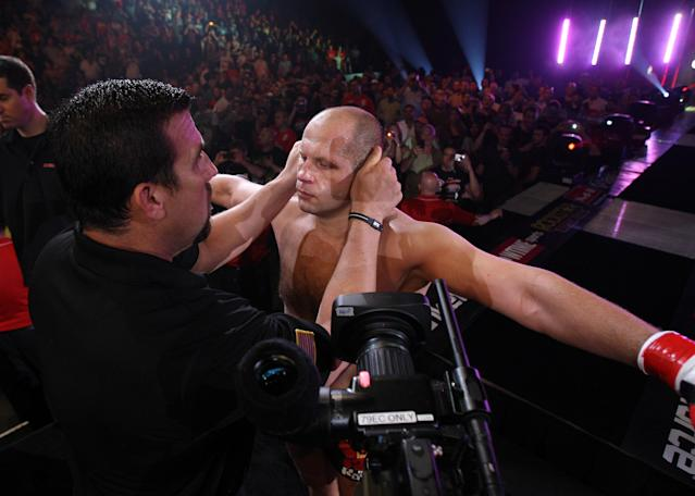 Fedor Emelianenko will face Chael Sonnen on Saturday at Bellator 208 in the second round of Bellator's heavyweight grand prix tournament. (Getty Images)