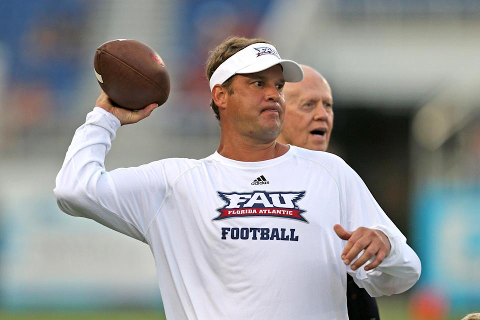 BOCA RATON, FL – SEPTEMBER 1: Head coach Lane Kiffin of the Florida Atlantic Owls throws the ball prior to the game against the Navy Midshipmen on September 1, 2017 at FAU Stadium in Boca Raton, Florida. (Photo by Joel Auerbach/Getty Images)