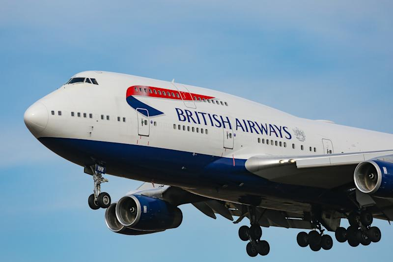 British Airways Boeing 747-400 with nickname Queen of the Skies commercial aircraft as seen on final approach with landing gear down landing at New York JFK John F. Kennedy International Airport in USA on 23 January 2020. The jumbo jet wide-body long haul airplane has the registration G-CIVR with 4x RR engines. BA is connecting capital of UK London LHR to New York City via Transatlantic flight. BAW Speedbird is the flag carrier airline of the United Kingdom member of Oneworld aviation alliance. NY, USA (Photo by Nicolas Economou/NurPhoto via Getty Images)