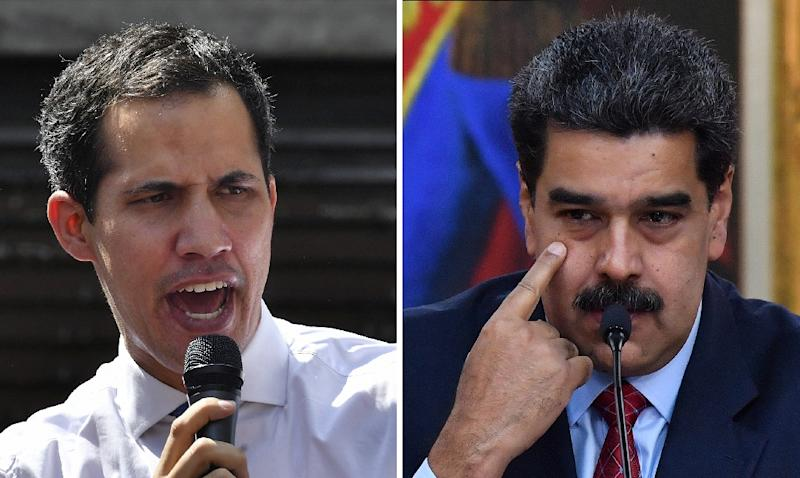 International pressure is growing on Nicolas Maduro, right, after National Assembly head Juan Guaido declared himself acting president (AFP Photo/Yuri CORTEZ)