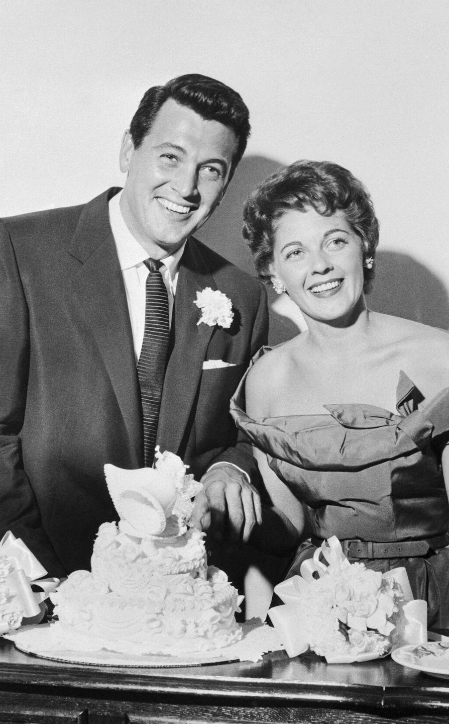 <p>On November 9, actor Rock Hudson, 29, married Phyllis Gates, 26, who was the secretary of his agent. But Gates filed for divorce in April 1958, citing mental cruelty. Neither remarried. It wasn't until 1985 that Hudson came out as a gay man when he simultaneously shared his AIDS diagnosis.</p>