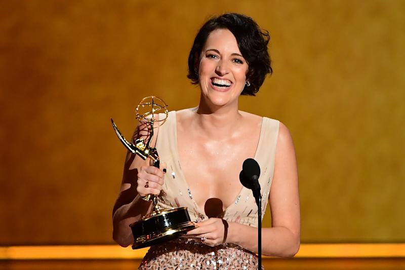 Phoebe Waller-Bridge accepts the award onstage for Outstanding Writing For A Comedy Series during the 71st Emmy Awards at the Microsoft Theatre in Los Angeles on September 22, 2019. (Photo by Frederic J. BROWN / AFP) (Photo credit should read FREDERIC J. BROWN/AFP/Getty Images)