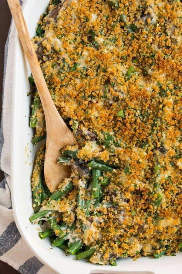 "<p>If a more traditional take on green bean casserole is what you're looking for then this is the recipe for you. The recipe uses all fresh ingredients and no cream of anything soup. The original recipe serves 10, so cut this in half and save some for leftovers the next day. </p><p><strong>Get the recipe:</strong> <a href=""http://www.wellplated.com/healthy-green-bean-casserole/"" class=""link rapid-noclick-resp"" rel=""nofollow noopener"" target=""_blank"" data-ylk=""slk:healthy green bean casserole"">healthy green bean casserole</a></p>"