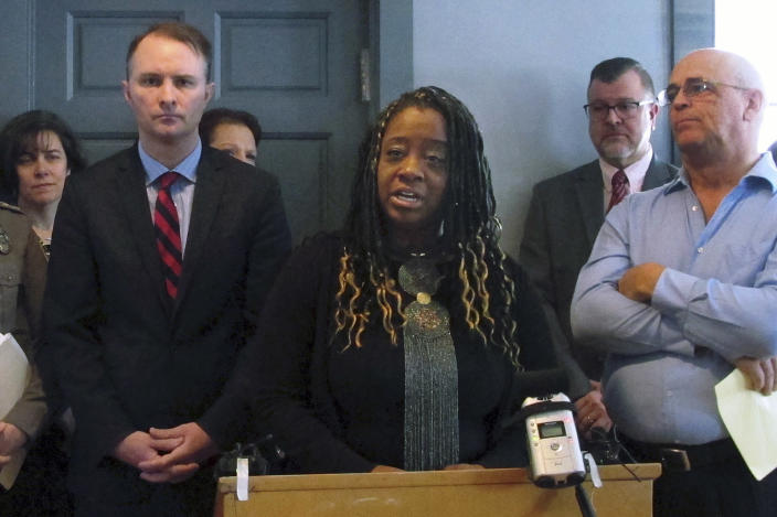 FILE - In this Jan. 14, 2019, file photo, Kiah Morris speaks at a news conference in Bennington, Vt., about the attorney general's investigation into racial threats against her. Morris, who became Vermont's first Black female legislator in 2014, resigned in 2018 after receiving racial threats and harassment. (AP Photo/Lisa Rathke, File)