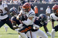 Cincinnati Bengals linebacker Logan Wilson advances his interception of Chicago Bears quarterback Justin Fields as Chicago Bears running back Damien Williams and Marquise Goodwin make the tackle during the second half of an NFL football game Sunday, Sept. 19, 2021, in Chicago. The Bears won 20-17. (AP Photo/David Banks)