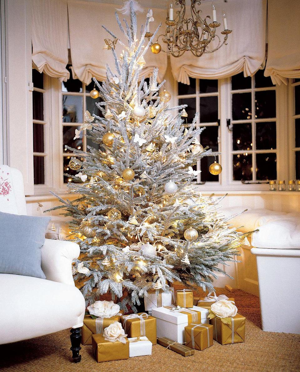 """<p>Take a snow-flocked white Christmas tree to the next level with white butterflies and metallic ball ornaments. </p><p><a class=""""link rapid-noclick-resp"""" href=""""https://go.redirectingat.com?id=74968X1596630&url=https%3A%2F%2Fwww.etsy.com%2Flisting%2F647895480%2Ffrosted-butterfly-decorations-white&sref=https%3A%2F%2Fwww.goodhousekeeping.com%2Fholidays%2Fchristmas-ideas%2Fg2707%2Fdecorated-christmas-trees%2F"""" rel=""""nofollow noopener"""" target=""""_blank"""" data-ylk=""""slk:SHOP BUTTERFLIES"""">SHOP BUTTERFLIES</a></p>"""