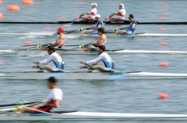 WINDSOR, ENGLAND - JULY 29:  Sandeep Kumar and Manjeet Singh of India compete in the Lightweight Men's Double Sculls on Day 2 of the London 2012 Olympic Games at Eton Dorney on July 29, 2012 in Windsor, England.  (Photo by Harry How/Getty Images)