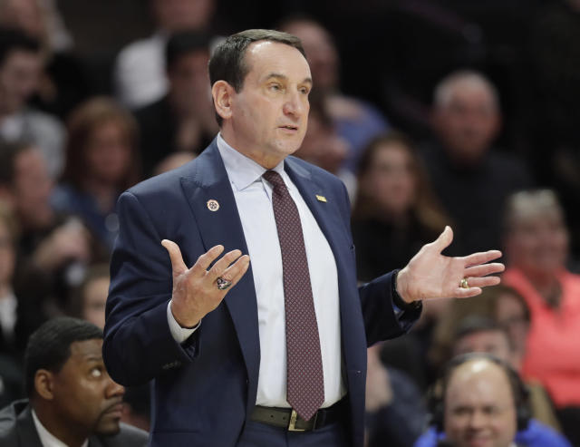 Duke head coach Mike Krzyzewski argues a call during the first half of an NCAA basketball game against Wake Forest in Winston-Salem, N.C., Tuesday, Jan. 23, 2018. (AP Photo/Chuck Burton)