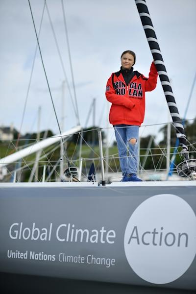 As she refuses to fly, Thunberg has been offered a lift on a racing yacht (AFP Photo/Ben STANSALL)