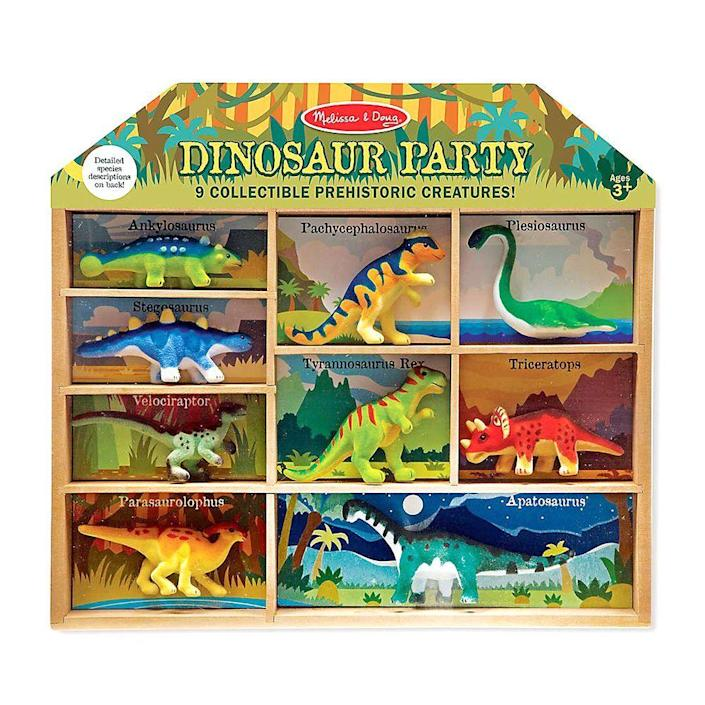 """<p><strong>Melissa and Doug</strong></p><p>bedbathandbeyond.com</p><p><strong>$21.99</strong></p><p><a href=""""https://go.redirectingat.com?id=74968X1596630&url=https%3A%2F%2Fwww.bedbathandbeyond.com%2Fstore%2Fproduct%2Fmelissa-amp-doug-reg-dinosaur-party-play-set%2F5047345&sref=https%3A%2F%2Fwww.bestproducts.com%2Fparenting%2Fg37696840%2Fgifts-for-5-year-old-boys%2F"""" rel=""""nofollow noopener"""" target=""""_blank"""" data-ylk=""""slk:Shop Now"""" class=""""link rapid-noclick-resp"""">Shop Now</a></p><p>Does any little boy ever really outgrow a dinosaur phase? We haven't met one yet. Your kiddo will love playing with this set of nine of his favorite species, from T-Rex to parasaurolophus. Figurines are felted for a unique, soft (but still sturdy) texture.</p>"""