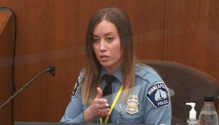 In this image from video, Minneapolis Police Officer Nicole Mackenzie testifies as Hennepin County Judge Peter A. Cahill presides on April 6, 2021, in the trial of former Minneapolis police Officer Derek Chauvin at the Hennepin County Courthouse in Minneapolis.