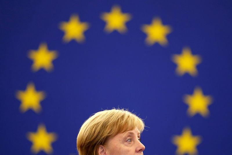 German Chancellor Merkel addresses the European Parliament during a debate on the future of Europe at the European Parliament in Strasbourg