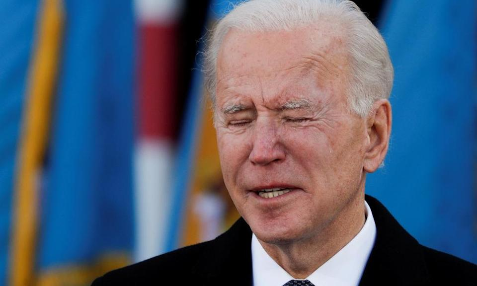 Joe Biden cries as he speaks during an event at Major Joseph R 'Beau' Biden III National Guard/Reserve Center in New Castle, Delaware.