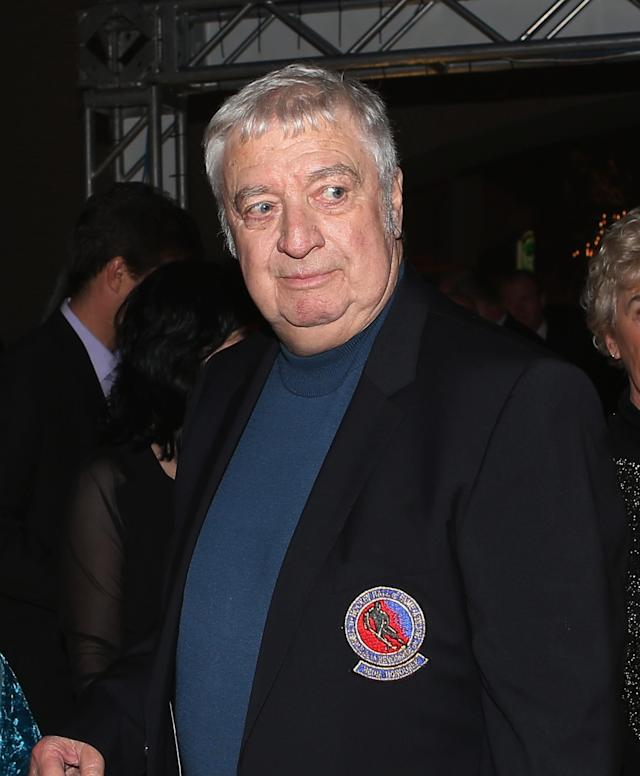 TORONTO, ON - NOVEMBER 12: Buffalo Sabres broadcaster Rick Jeanneret arrives for the Hockey Hall of Fame induction ceremony at Brookfield Place on November 12, 2012 in Toronto, Canada. (Photo by Bruce Bennett/Getty Images)