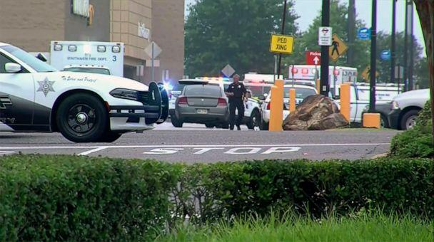 PHOTO: Police and emergency personnel respond to a shooting at a Walmart in Southaven, Miss., July 30, 2019. (WATN-TV via AP)
