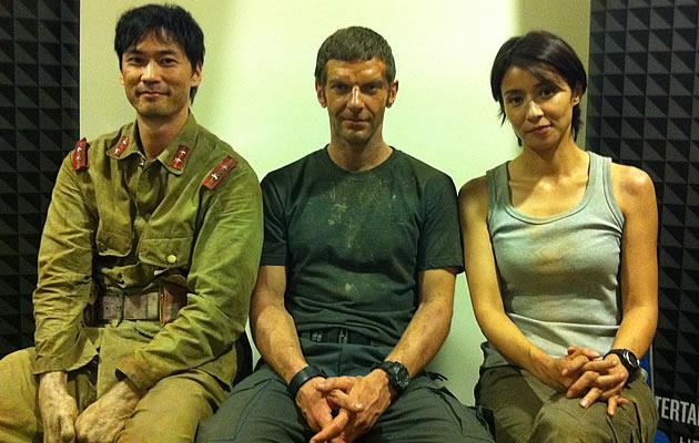 Jimmy T, Sam Hazeldine and Miki Mizuno take a break from filming to talk about their respective roles. (Yahoo! Photo)