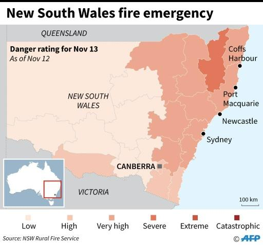 Map showing bushfire emergency warnings in Australia's New South Wales state as of November 12