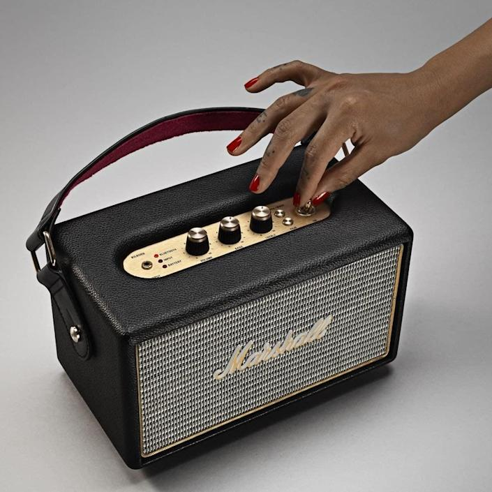 <p>Feeling like splurging on your audiophile? This <span>Marshall Kilburn Speaker</span> ($209 and up) is the ultimate gift for any music junkie. It's vintage-inspired with a modern twist. The speaker connects via Bluetooth, so it's ready to pump the jams. </p>