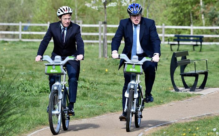 Andy Street joins the PM for a bike ride - AP