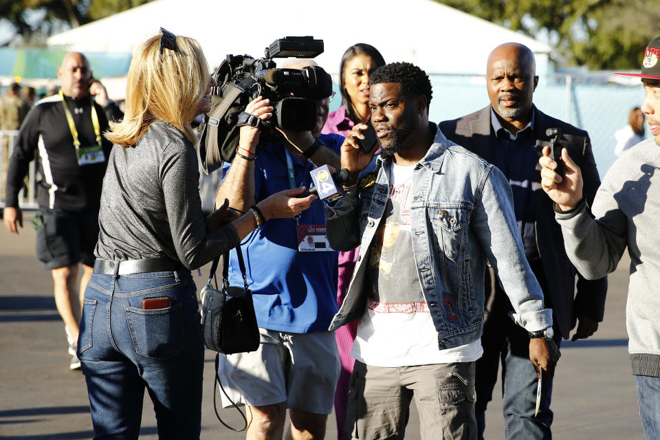 Comedian Kevin Hart talks to press before Super Bowl LIV at Hard Rock Stadium on February 02, 2020 in Miami, Florida. (Photo by Michael Reaves/Getty Images)