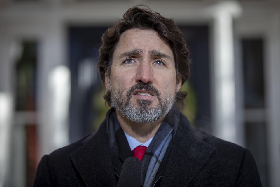 Canadian Prime Minister Justin Trudeau speaks during a Covid-19 briefing at the Rideau Cottage in Ottawa, Ontario, on December 18, 2020. (Photo by Lars Hagberg / AFP) (Photo by LARS HAGBERG/AFP via Getty Images)
