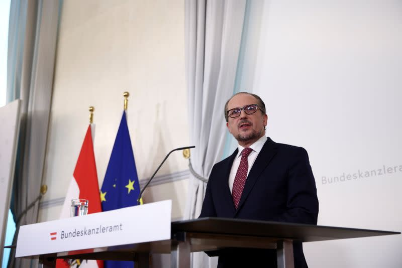 Austria's new Chancellor Alexander Schallenberg addresses the media at the Federal Chancellery in Vienna